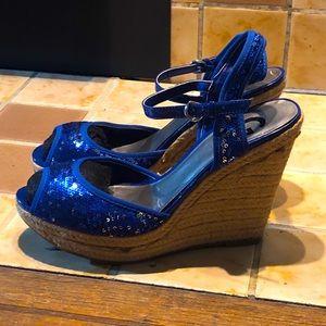 Women's Guess Blue Sequin Espadrille Wedge Heels